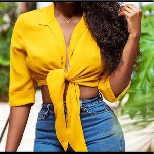 Yellow buttoned shirt